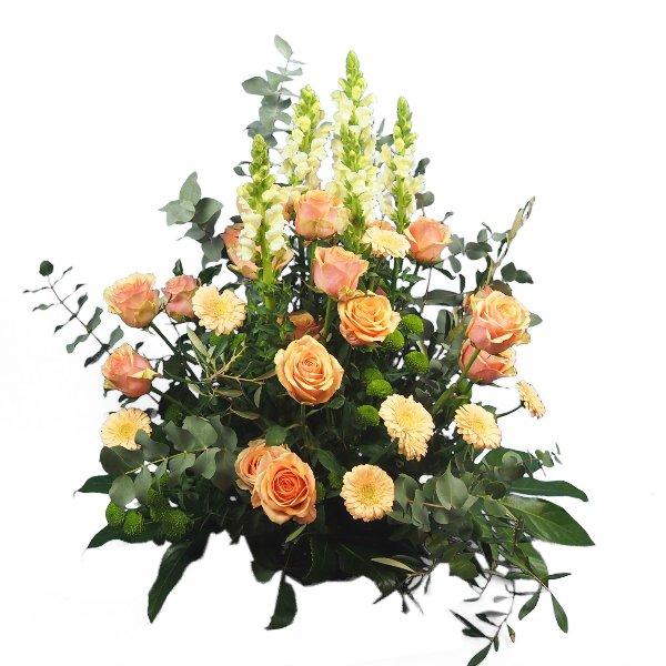 Trauergesteck lachs-weiße Blumenkombination Bild 1