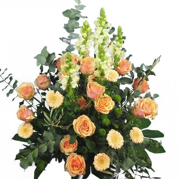 Trauergesteck lachs-weiße Blumenkombination Bild 2