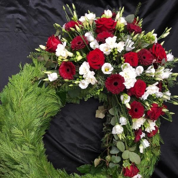 Trauerkranz - rot/weiß Bild 1