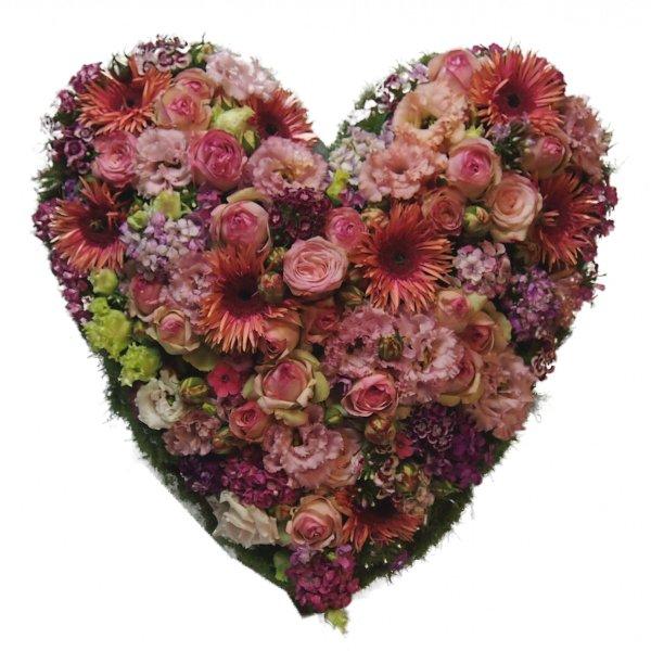 Trauerherz, lachs-/rosafarbenen Blumenkombination (zum Aufstellen) Bild 1