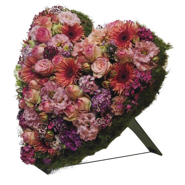 Trauerherz, lachs-/rosafarbenen Blumenkombination (zum Aufstellen) Bild 2