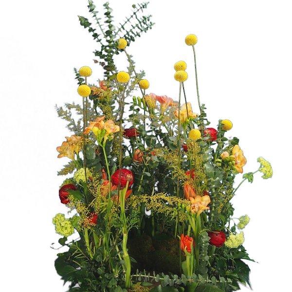 Urnenwiese mit frühlingshafter Blumenkombination Bild 1