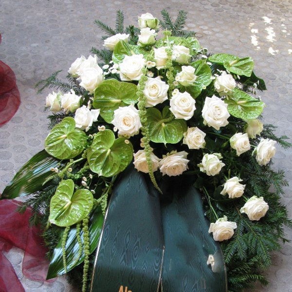 Trauerkranz, grün/weiss Bild 1