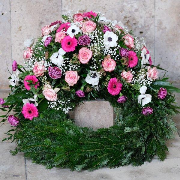Trauerkranz in rosa Bild 1