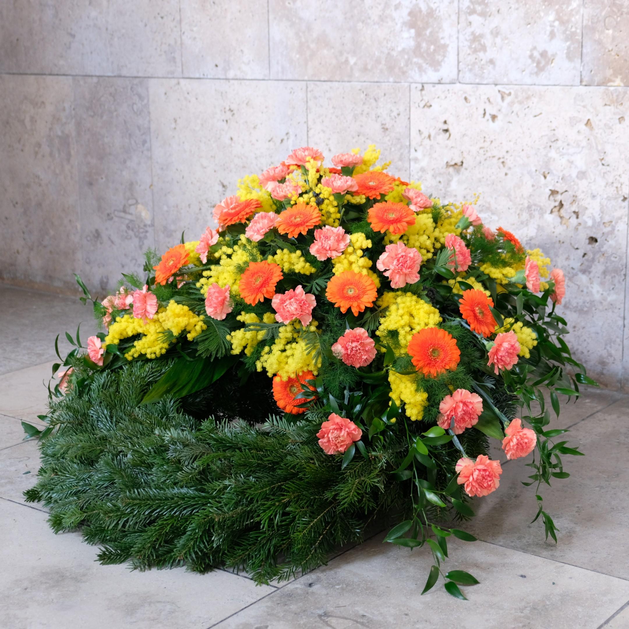 Trauerkranz in orange Bild 2
