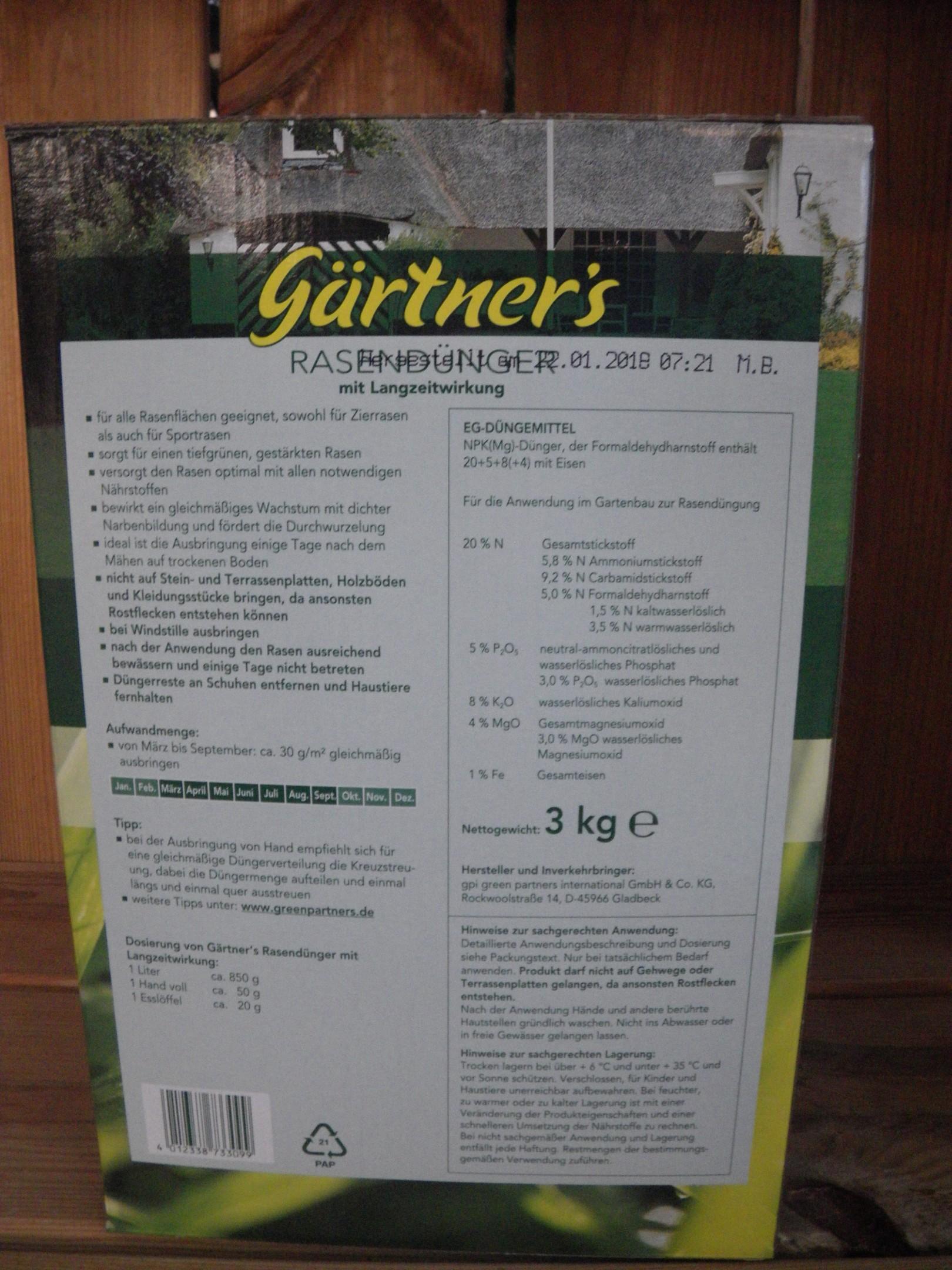 Gärtners Rasendünger mit Langzeitwirkung 3kg Packung Bild 2