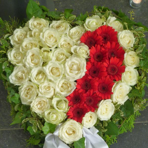 H 5     Weiß-rotes Herz Bild 1