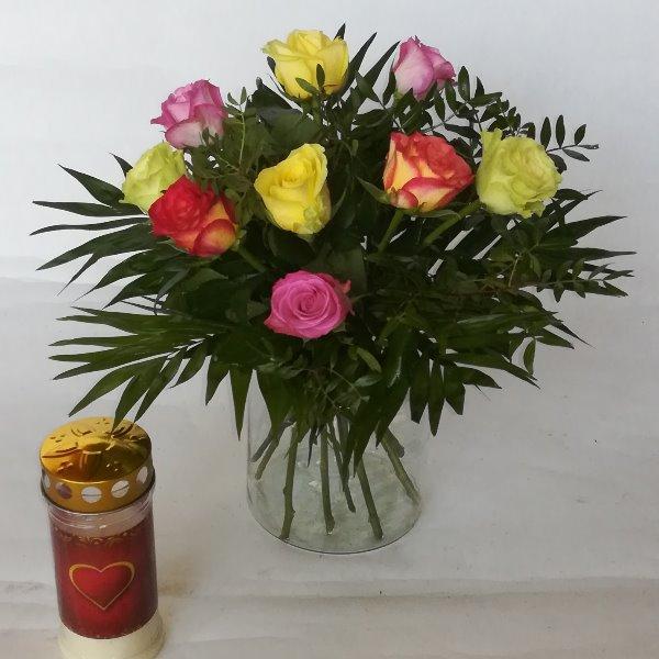 Grabstr 2    Strauß mit bunten Rosen Bild 1