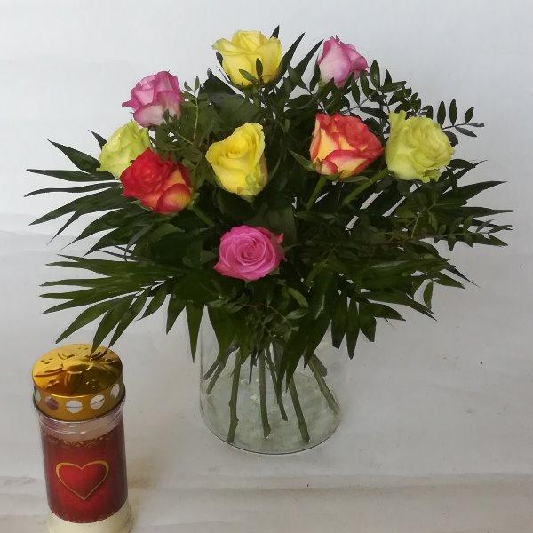 Grabstr 2    Strauß mit bunten Rosen Bild 2