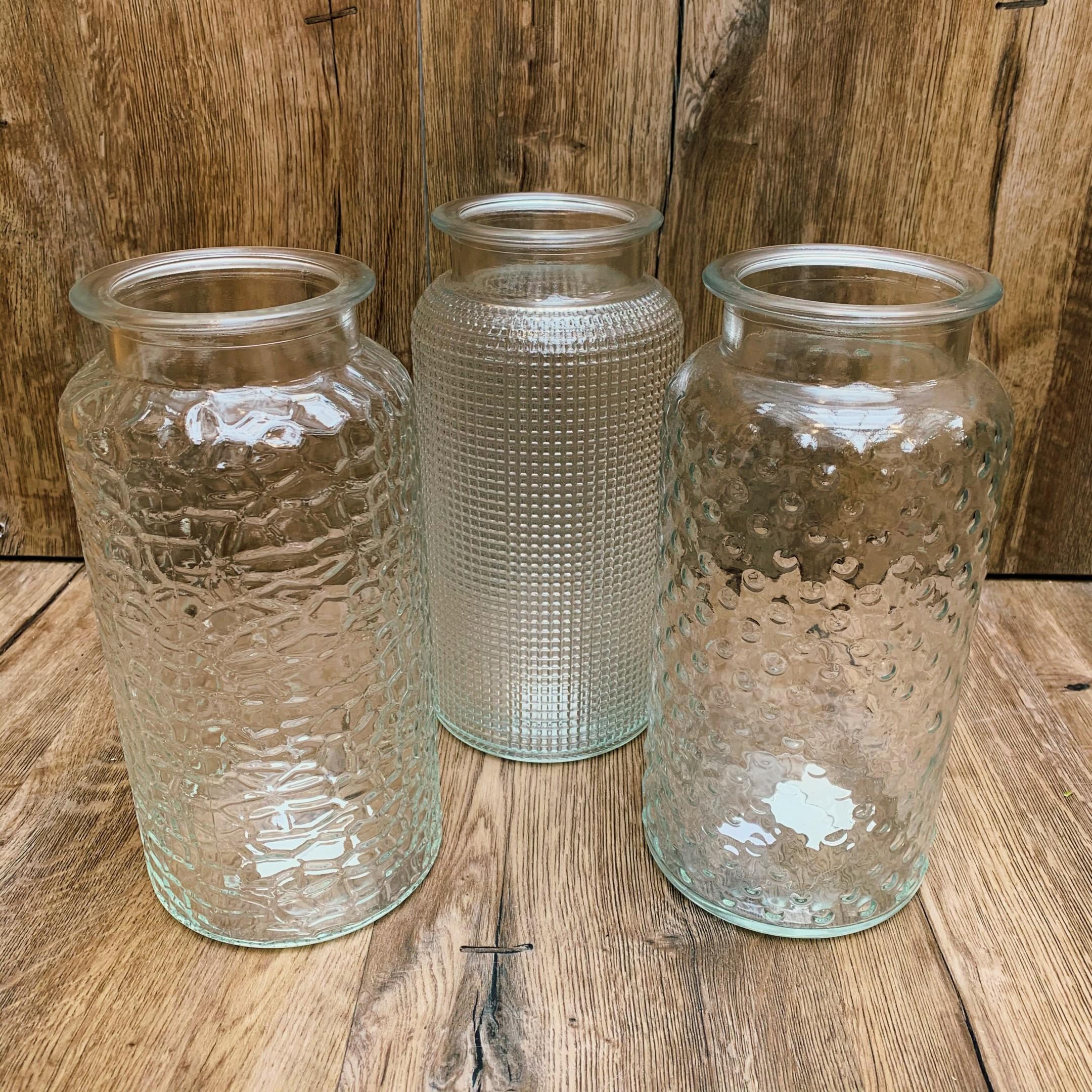 Große Glasvase klar, mit verschiedenen Mustern Bild 1