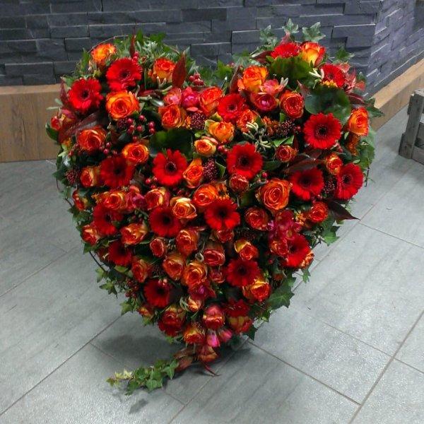 Herz mit Ständer in orange-rot Bild 1