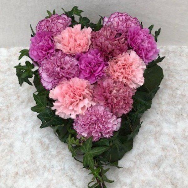 Gesteck Herz- rosa/pink klein Bild 1