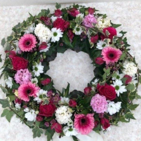 Urnenkranz rot/rosa/weiß Bild 1