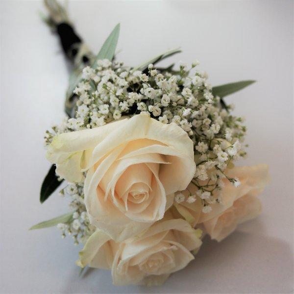 Langer Handstrauß mit 3 Rosen Bild 1