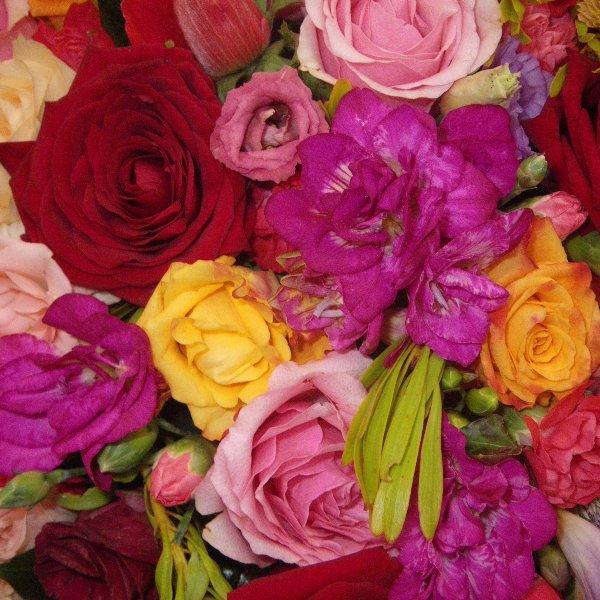 Trauerherz in rosa/rot mit Rosen Bild 2