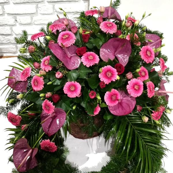 TK 25   Kopfkranz in bordeaux-rosa Bild 1
