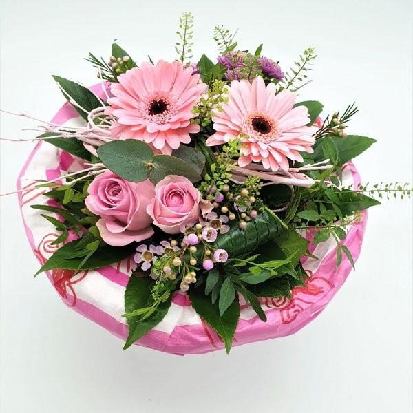Strauß mit Germini und Rosen in rosa Bild 1