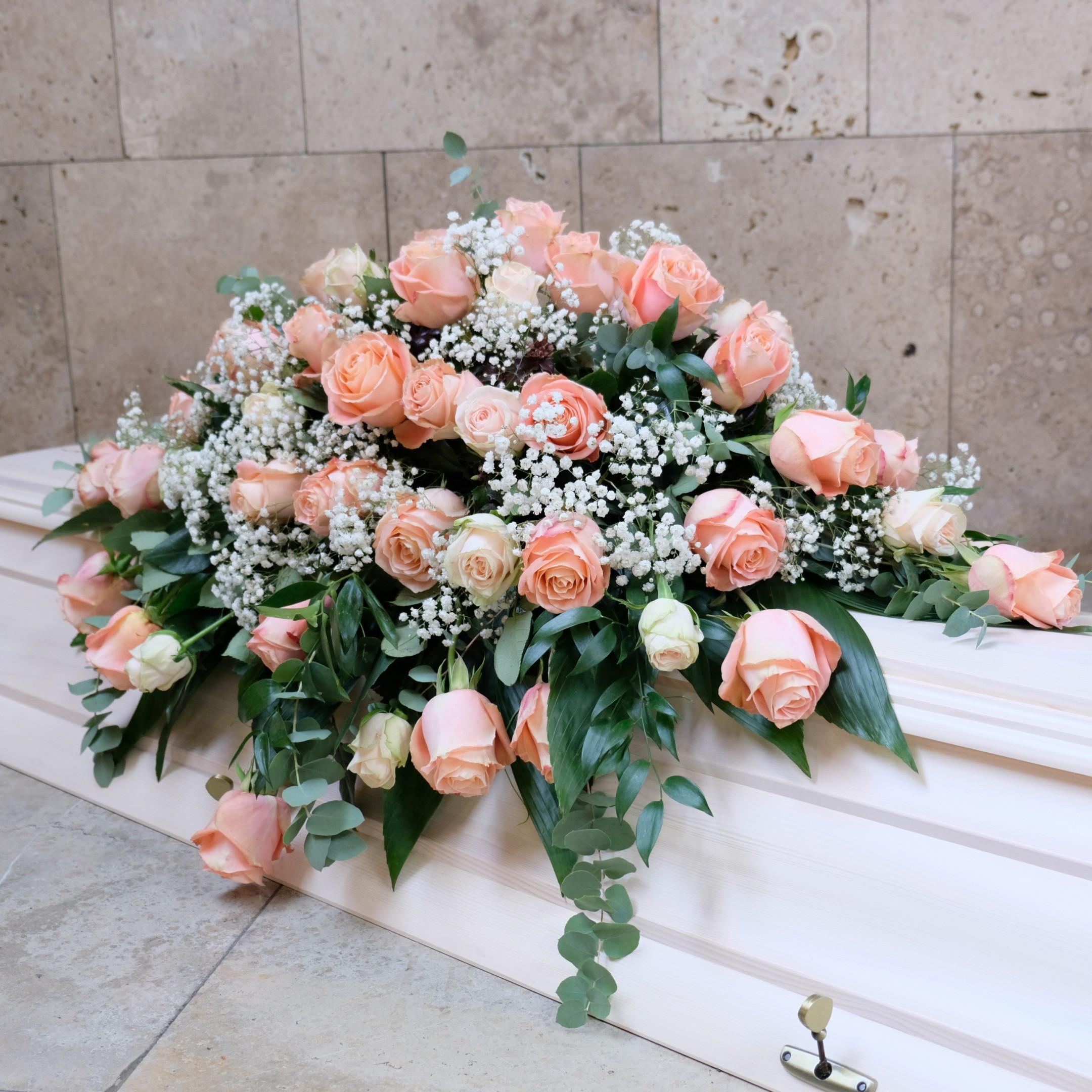 Sargbukett in rosa/weiß Bild 1