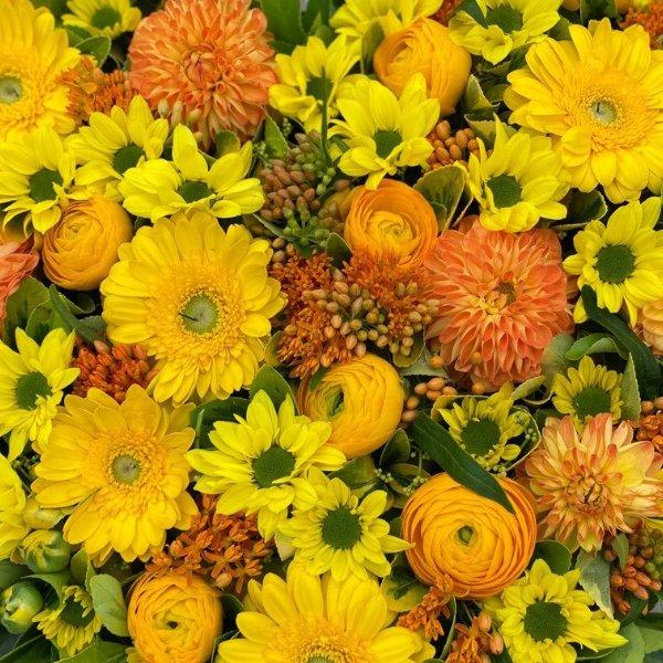 Gesteck- Herz- gelb/orange Bild 2