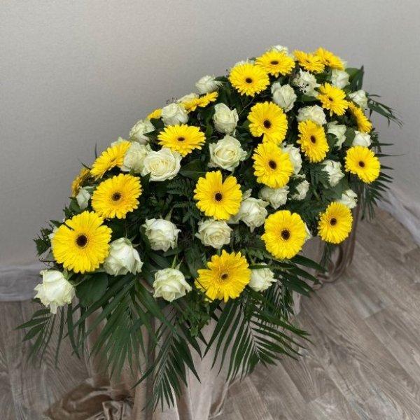 Sargschmuck gelb/weiß Bild 1