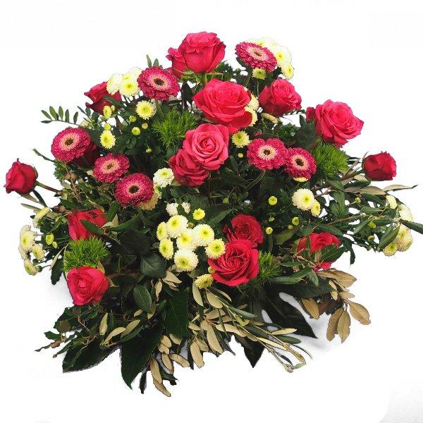 Trauergesteck in magentafarbener Blumenkombination Bild 2
