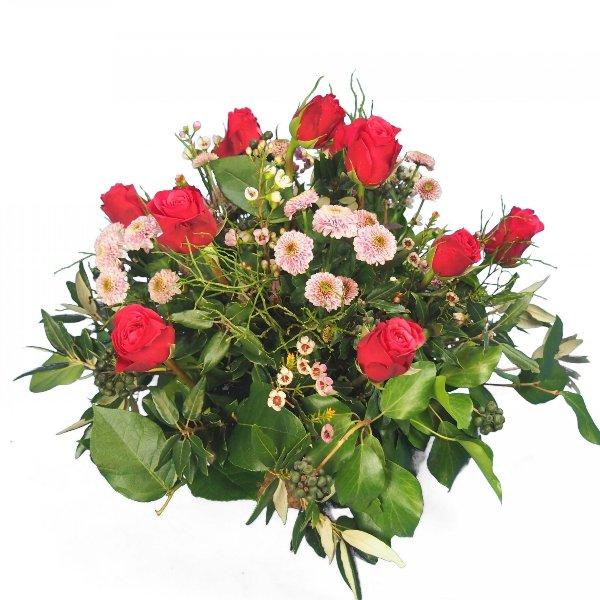 Trauergesteck mit Rosen und Santini Bild 1