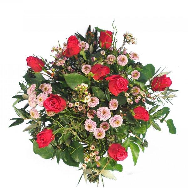 Trauergesteck mit Rosen und Santini Bild 2