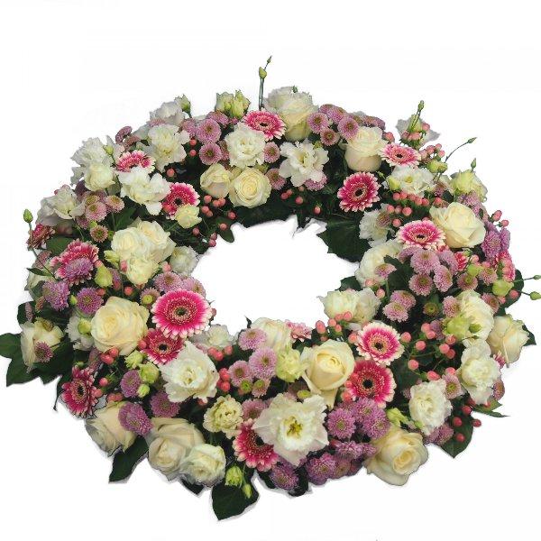 Trauerkranz rundgesteckt, rosa Blumenkombination Bild 1