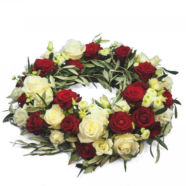 Urnenschmuck rundgesteckter Kranz mit weißen und roten Rosen Bild 1