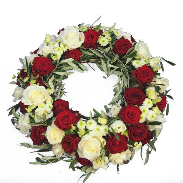Urnenschmuck rundgesteckter Kranz mit weißen und roten Rosen Bild 2