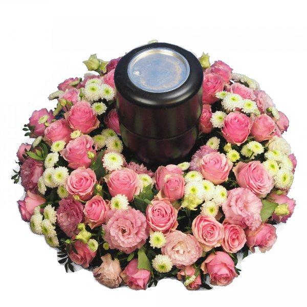Urnenkranz, Kombination aus rosa Blumen Bild 1