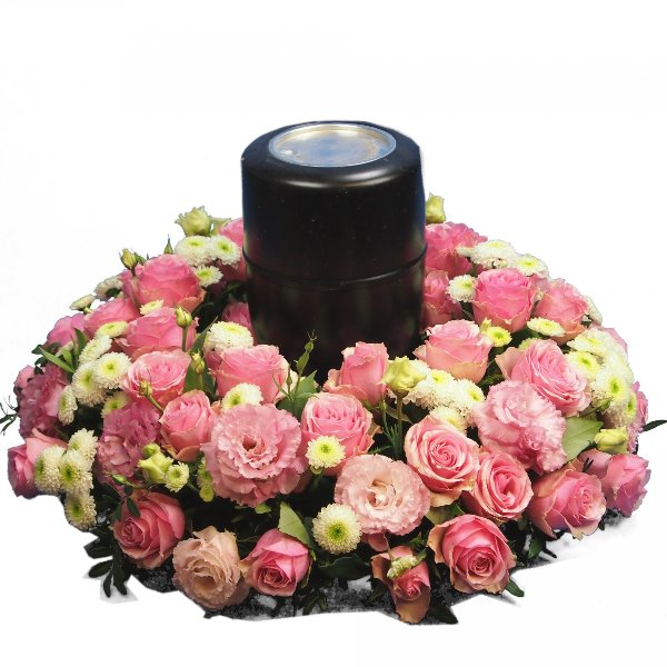 Urnenkranz, Kombination aus rosa Blumen Bild 2