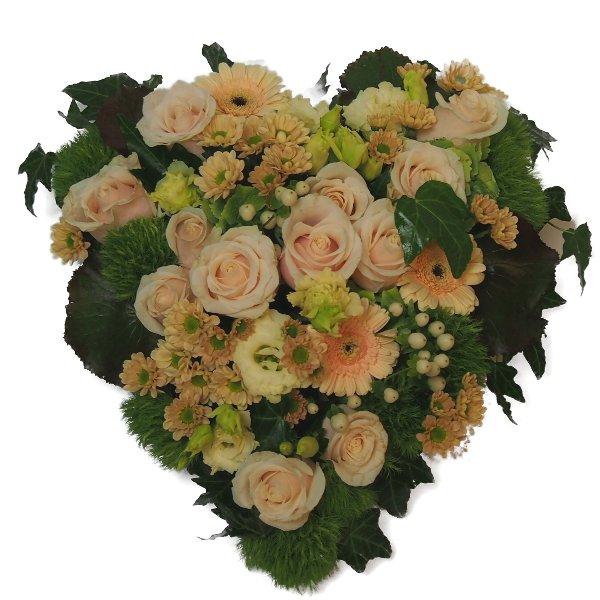 Trauerherz, crèmefarbene Blumenkombination Bild 1