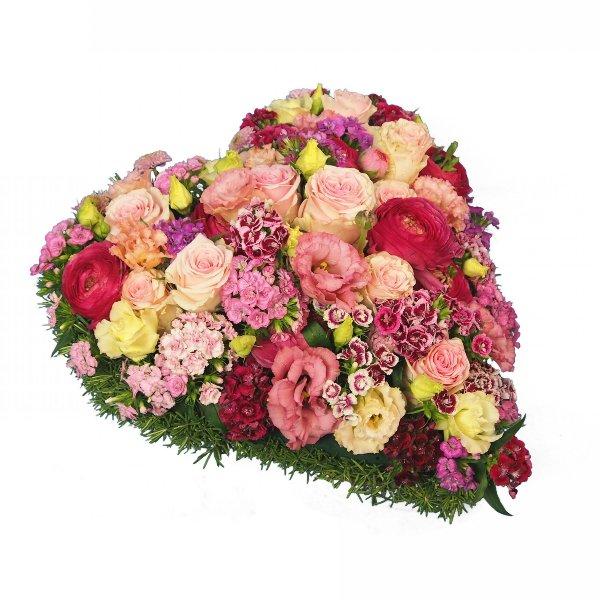 Herzform mit Blumen rosa Bild 2