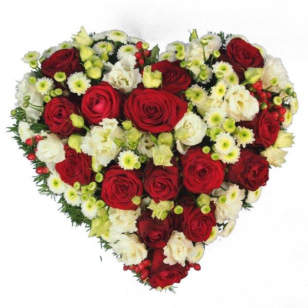 Herzform mit Blumen, rot-weiß Bild 1