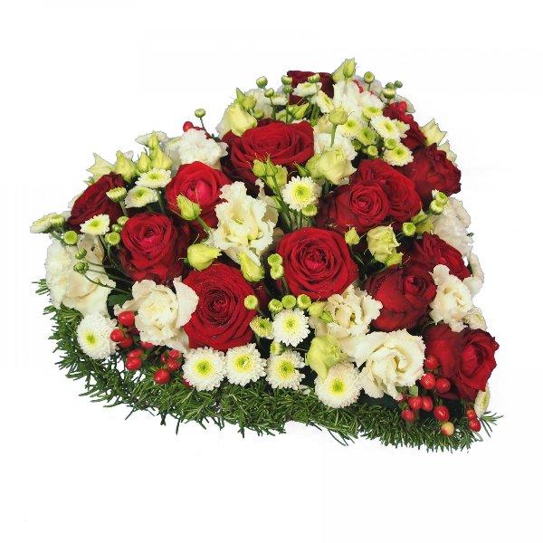 Herzform mit Blumen, rot-weiß Bild 2