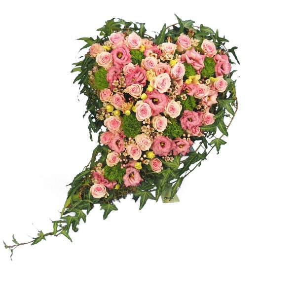 Herzform mit Blumen, rosa Blumenkombination (Aufsteller) Bild 1