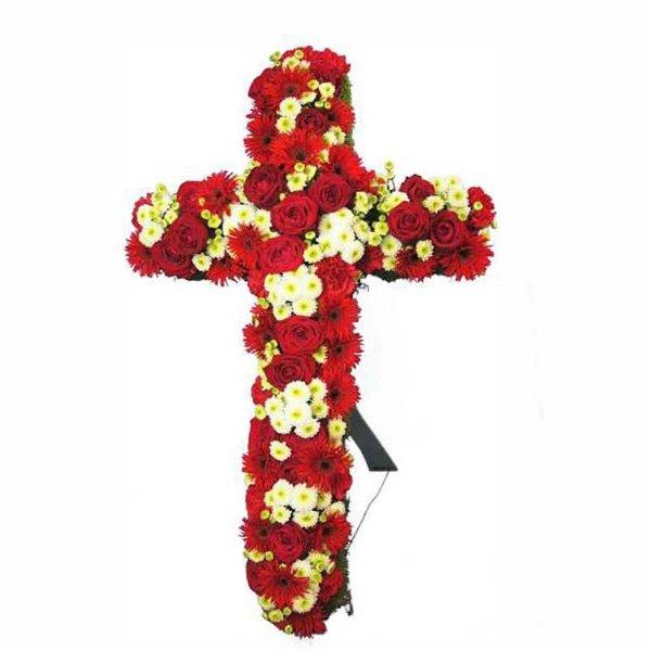 Trauer Kreuzform mit roten und weißen Blumen gesteckt Bild 1