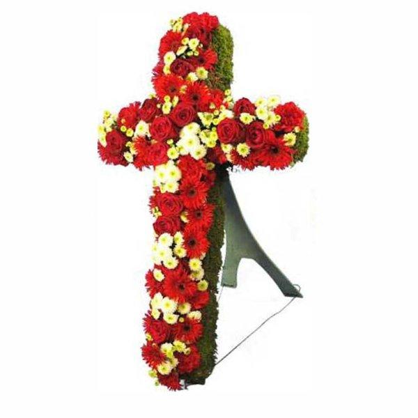 Trauer Kreuzform mit roten und weißen Blumen gesteckt Bild 2