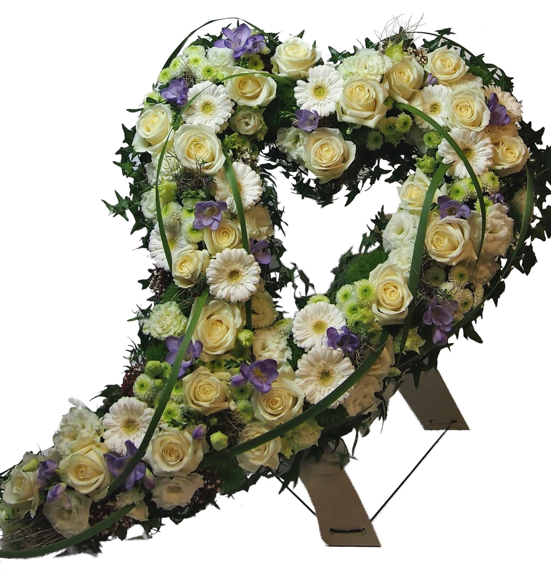Trauerherz mit Schweif, gesteckt mit Blumen (zum Aufstellen) Bild 1