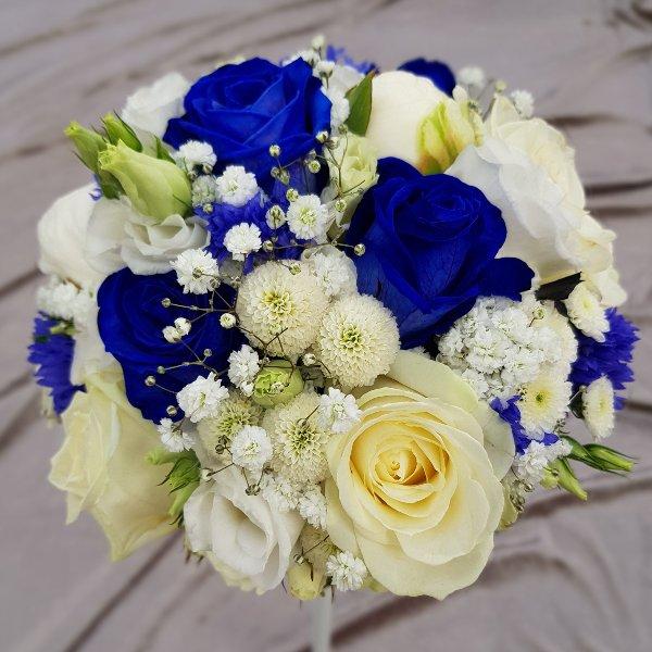 Brautstrauß blau-weiß Bild 1
