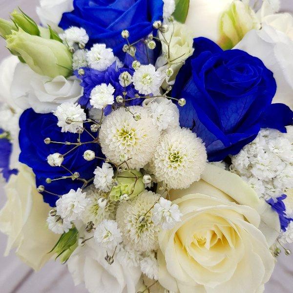 Brautstrauß blau-weiß Bild 2