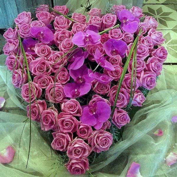 Trauerherz pink Rose und Orchidee Bild 1