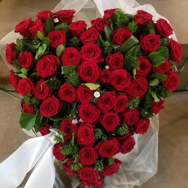 Trauerherz rote Rosen Bild 1