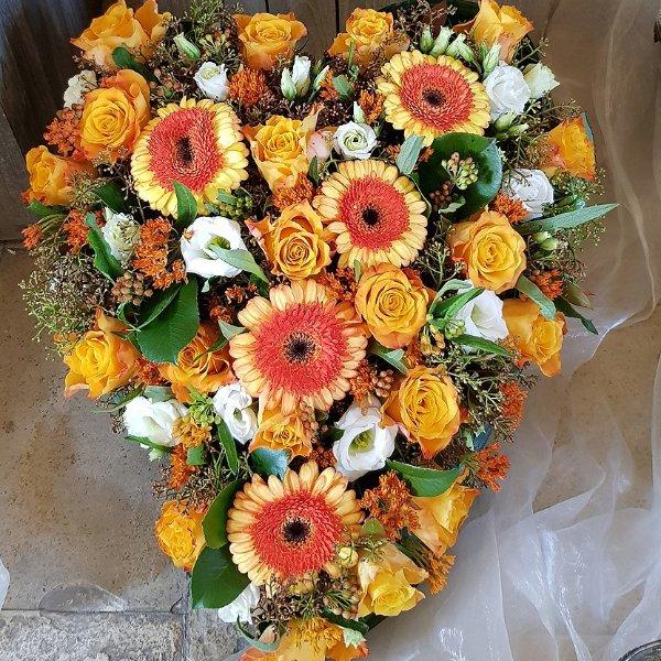 Trauerherz orange-weiß Bild 1