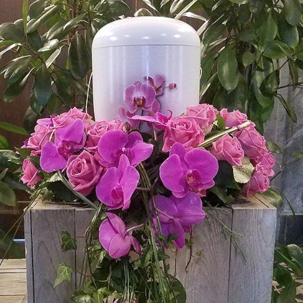 Urnenschmuck pink Rosen und Orchidee Bild 1