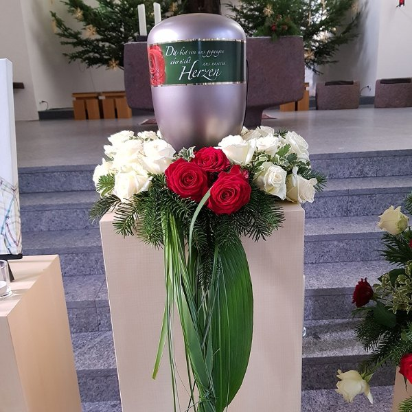 Urnenschmuck  rot-weiß, Rosen Bild 1